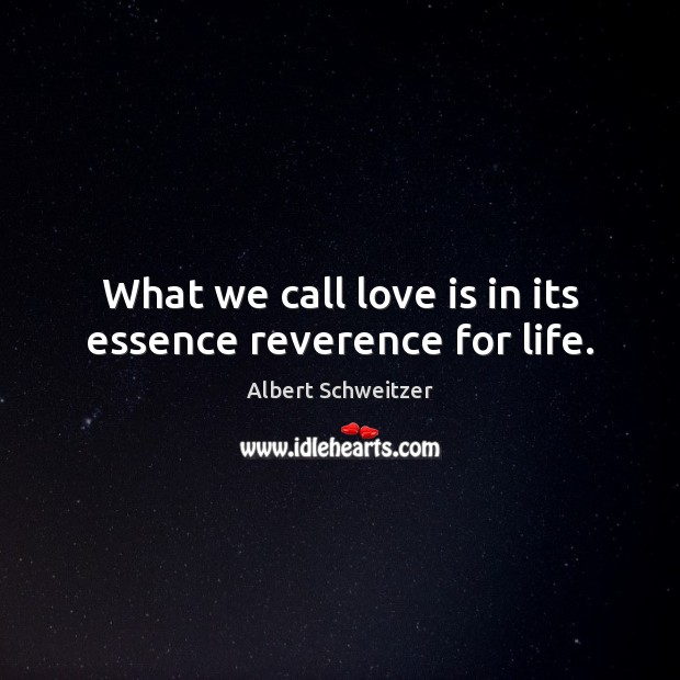 What we call love is in its essence reverence for life. Image