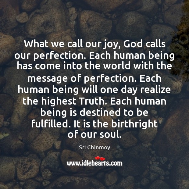 What we call our joy, God calls our perfection. Each human being Sri Chinmoy Picture Quote
