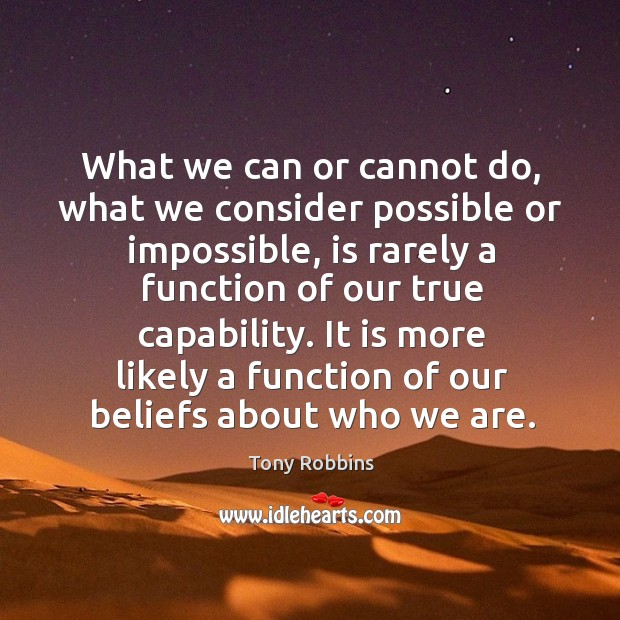 What we can or cannot do, what we consider possible or impossible Image