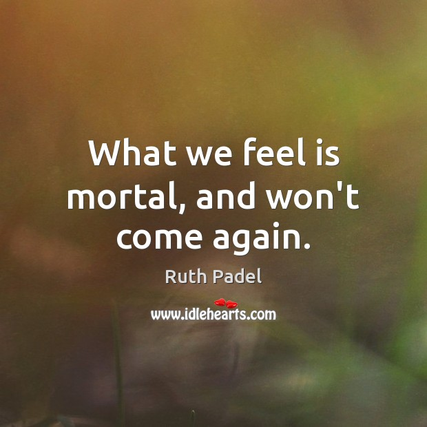 What we feel is mortal, and won't come again. Image