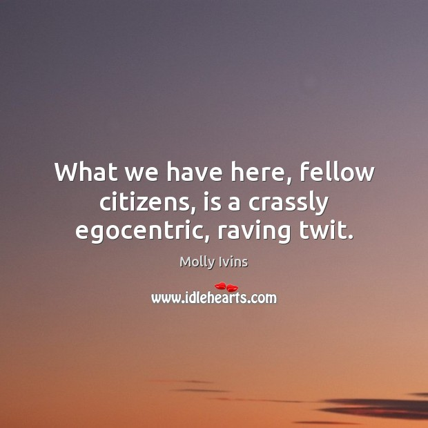 What we have here, fellow citizens, is a crassly egocentric, raving twit. Molly Ivins Picture Quote