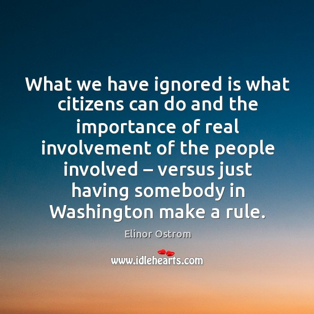 What we have ignored is what citizens can do and the importance of real involvement Image
