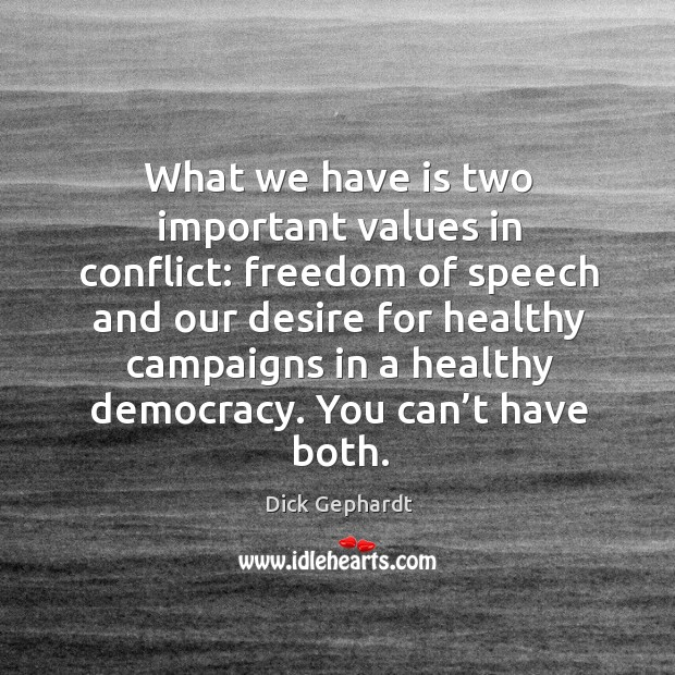 Image, What we have is two important values in conflict: freedom of speech and our desire for healthy