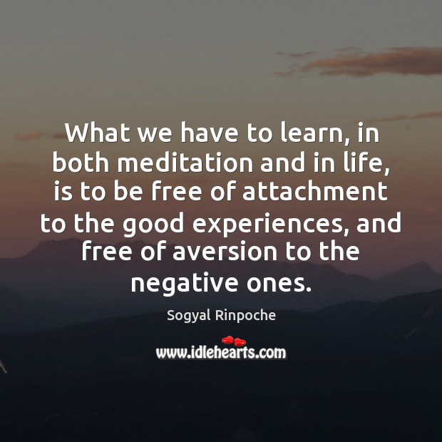 What we have to learn, in both meditation and in life, is Sogyal Rinpoche Picture Quote