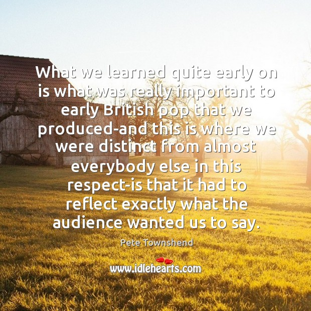 What we learned quite early on is what was really important to early british Image