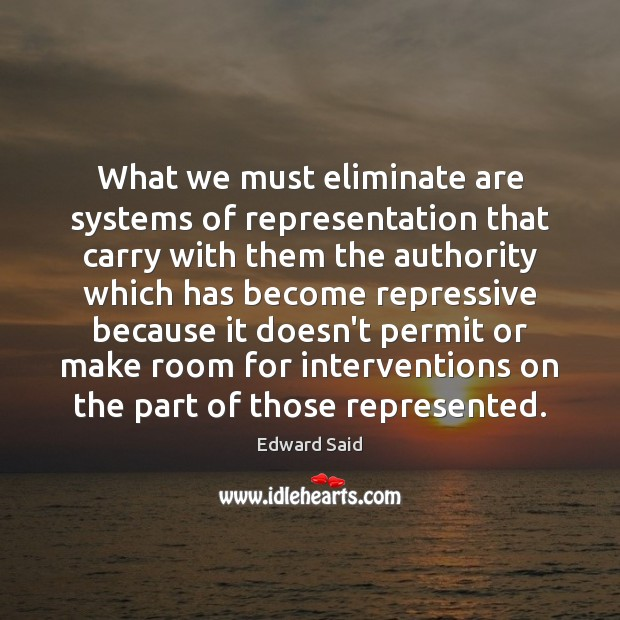 What we must eliminate are systems of representation that carry with them Image