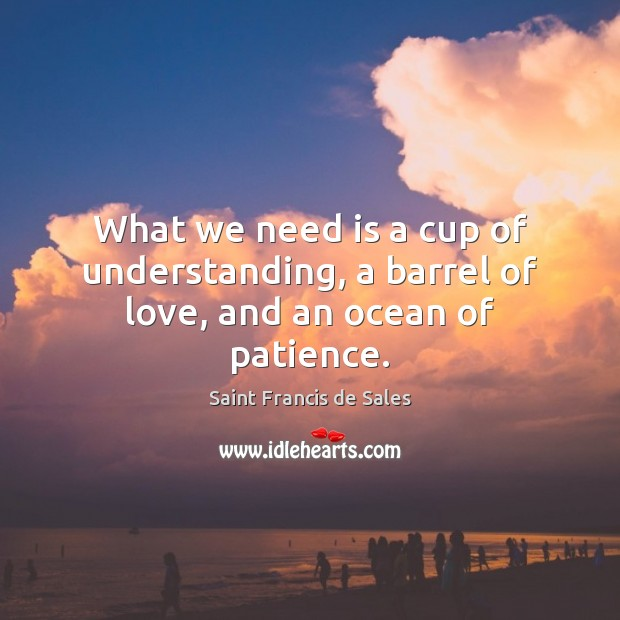 What we need is a cup of understanding, a barrel of love, and an ocean of patience. Saint Francis de Sales Picture Quote