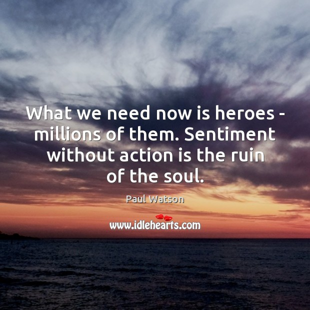 What we need now is heroes – millions of them. Sentiment without Paul Watson Picture Quote