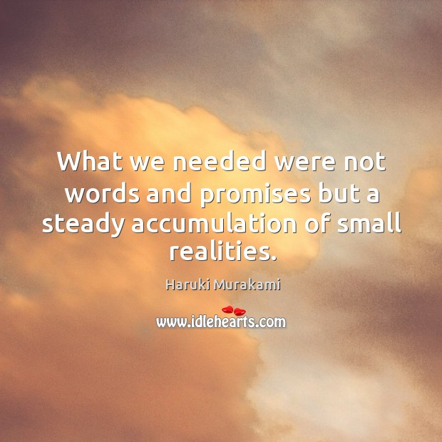 What we needed were not words and promises but a steady accumulation of small realities. Image
