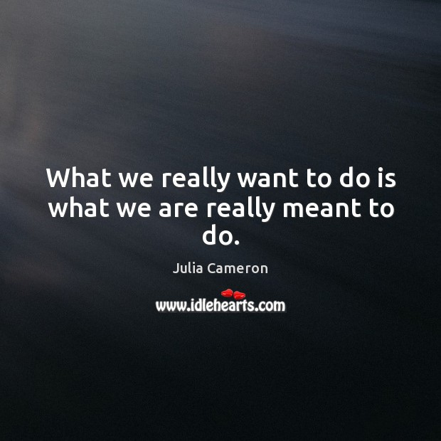 What we really want to do is what we are really meant to do. Julia Cameron Picture Quote
