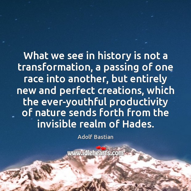 What we see in history is not a transformation, a passing of Image