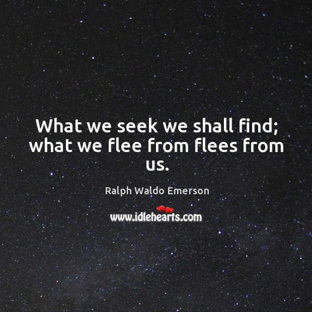 What we seek we shall find; what we flee from flees from us. Image