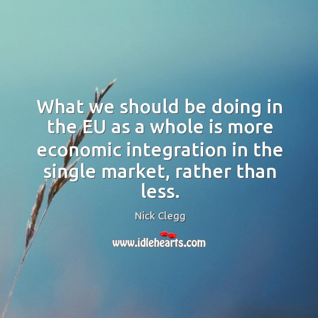 What we should be doing in the EU as a whole is Nick Clegg Picture Quote
