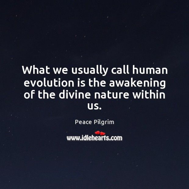 What we usually call human evolution is the awakening of the divine nature within us. Awakening Quotes Image