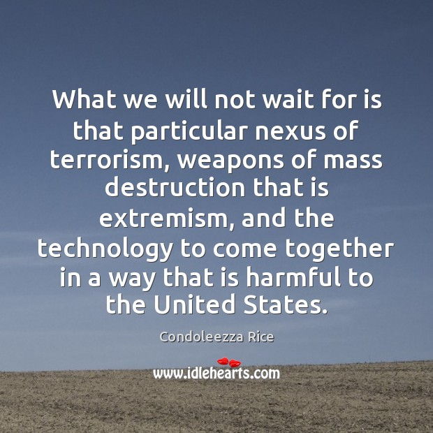 What we will not wait for is that particular nexus of terrorism, Condoleezza Rice Picture Quote
