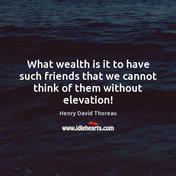 What wealth is it to have such friends that we cannot think of them without elevation! Wealth Quotes Image
