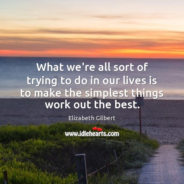 What we're all sort of trying to do in our lives is Elizabeth Gilbert Picture Quote