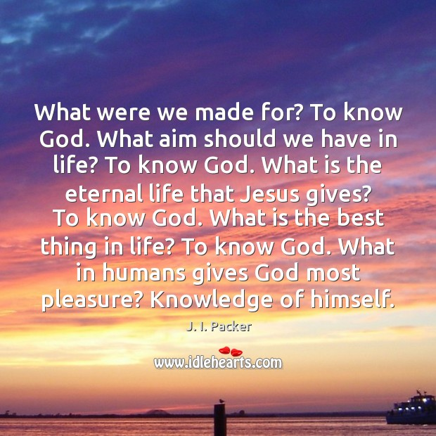 What were we made for? To know God. What aim should we J. I. Packer Picture Quote