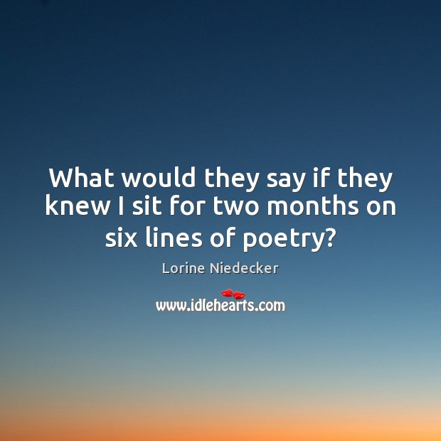 What would they say if they knew I sit for two months on six lines of poetry? Lorine Niedecker Picture Quote