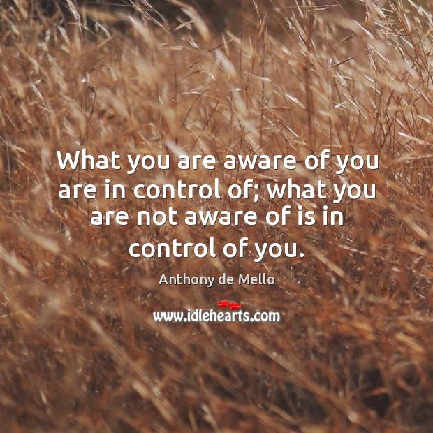 What you are aware of you are in control of; what you Image
