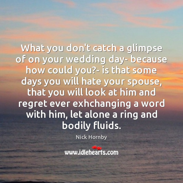 What you don't catch a glimpse of on your wedding day- because Nick Hornby Picture Quote