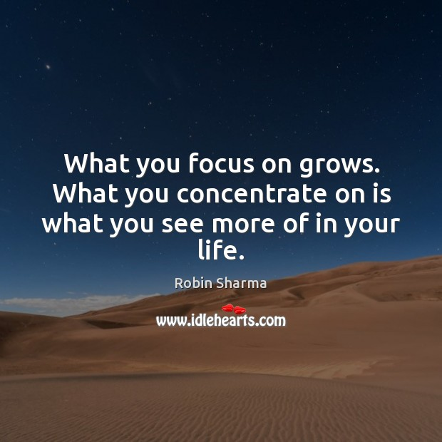 Image, What you focus on grows. What you concentrate on is what you see more of in your life.