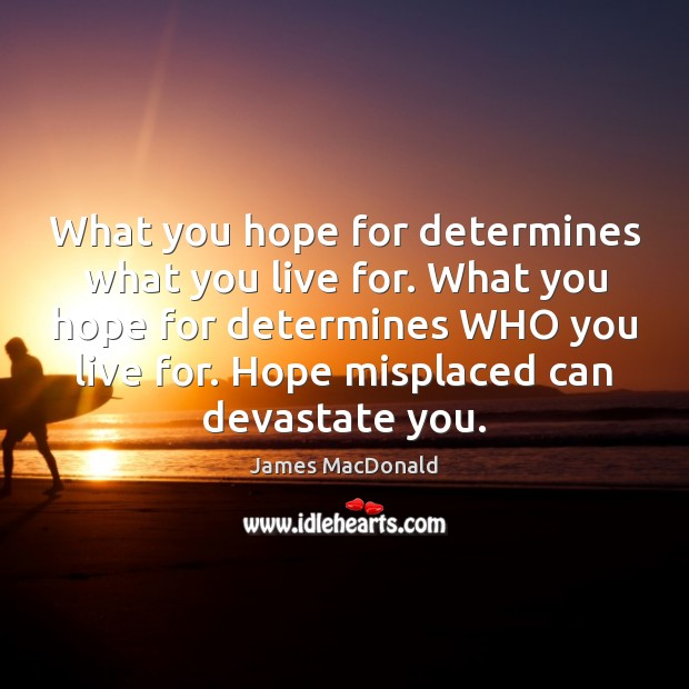 What you hope for determines what you live for. What you hope Image