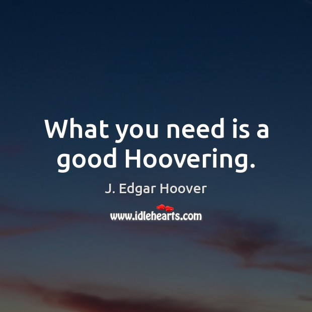 What you need is a good Hoovering. J. Edgar Hoover Picture Quote