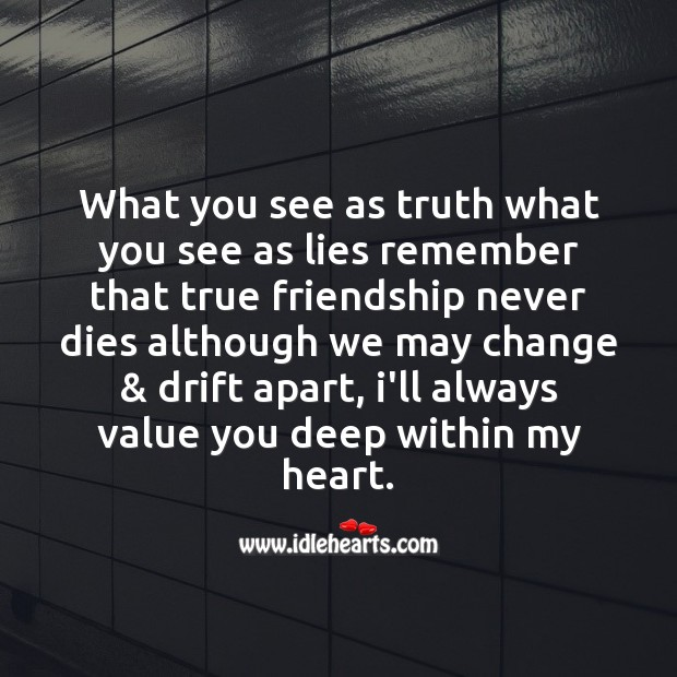 What you see as truth what you see as lies Friendship Day Messages Image