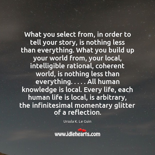 What you select from, in order to tell your story, is nothing Ursula K. Le Guin Picture Quote
