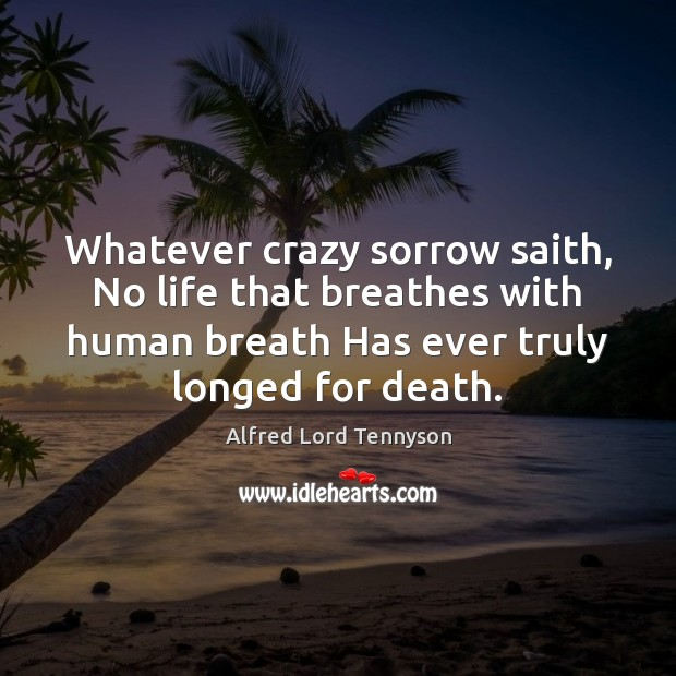 Image, Whatever crazy sorrow saith, No life that breathes with human breath Has
