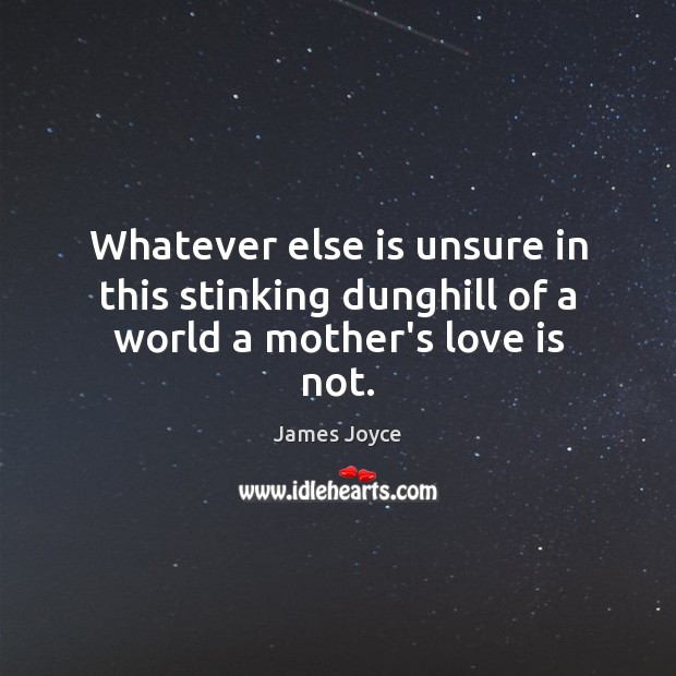 Image, Whatever else is unsure in this stinking dunghill of a world a mother's love is not.