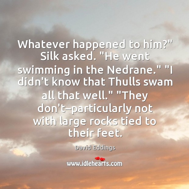 "Image, Whatever happened to him?"" Silk asked. ""He went swimming in the Nedrane."" """