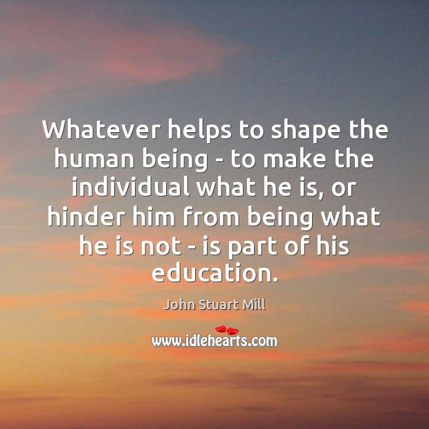 Whatever helps to shape the human being – to make the individual John Stuart Mill Picture Quote