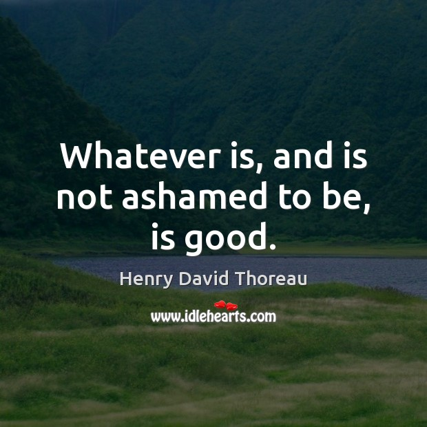Whatever is, and is not ashamed to be, is good. Image