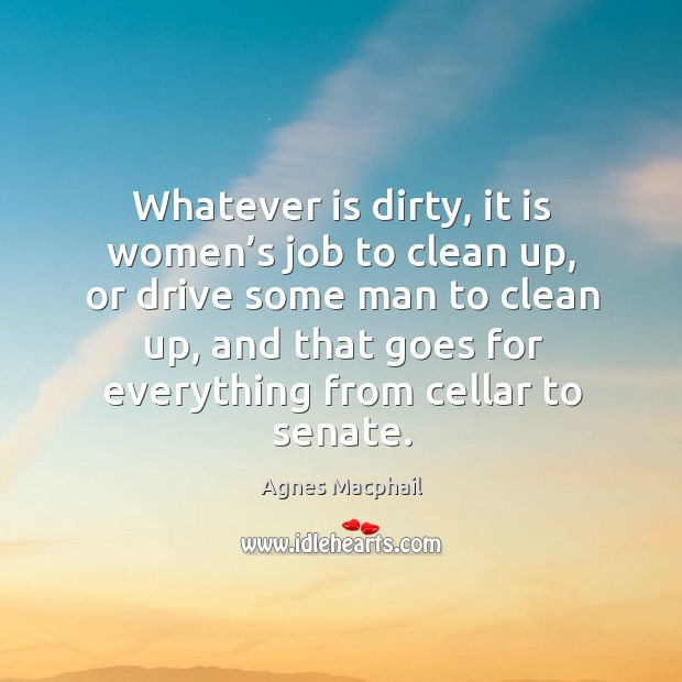 Image, Whatever is dirty, it is women's job to clean up, or drive some man to clean up