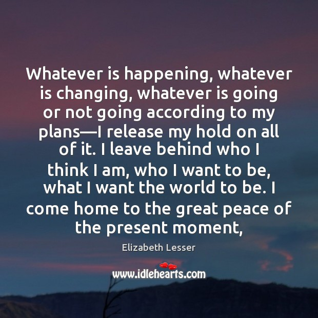Whatever is happening, whatever is changing, whatever is going or not going Elizabeth Lesser Picture Quote