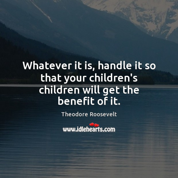 Whatever it is, handle it so that your children's children will get the benefit of it. Theodore Roosevelt Picture Quote