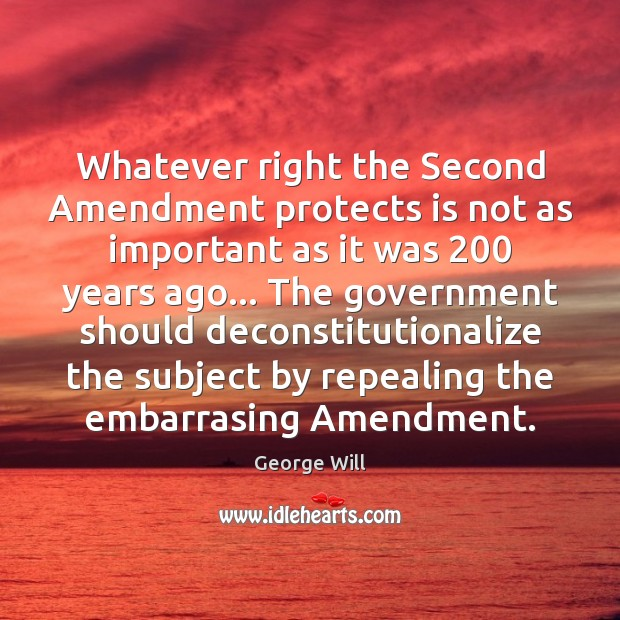 Image, Whatever right the Second Amendment protects is not as important as it