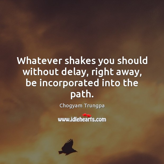 Whatever shakes you should without delay, right away, be incorporated into the path. Chogyam Trungpa Picture Quote