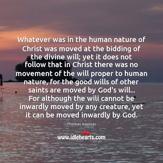 Image, Whatever was in the human nature of Christ was moved at the