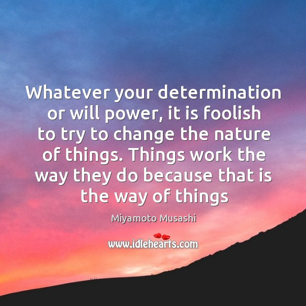 Whatever your determination or will power, it is foolish to try to Will Power Quotes Image