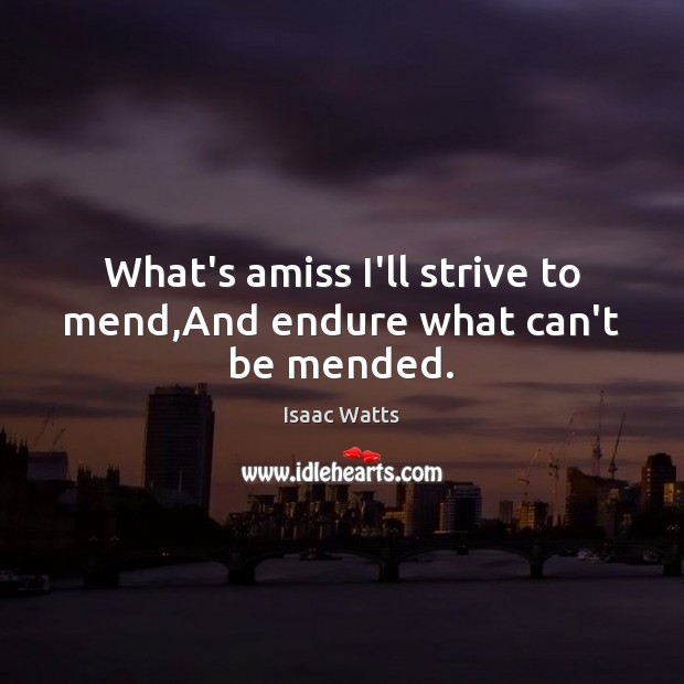 Image, What's amiss I'll strive to mend,And endure what can't be mended.
