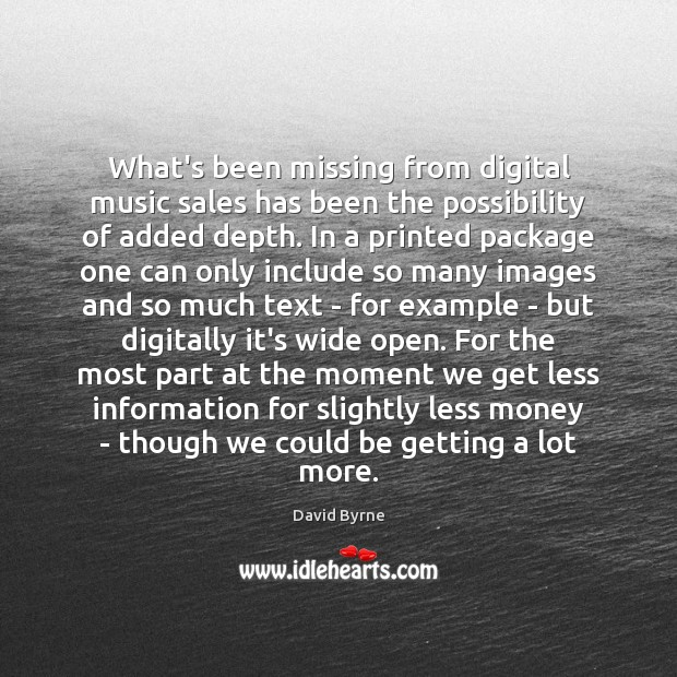 Image, What's been missing from digital music sales has been the possibility of
