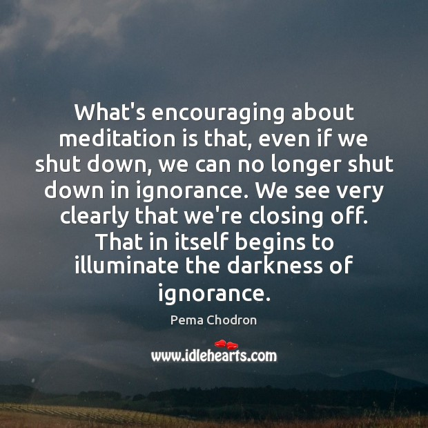 Image, What's encouraging about meditation is that, even if we shut down, we