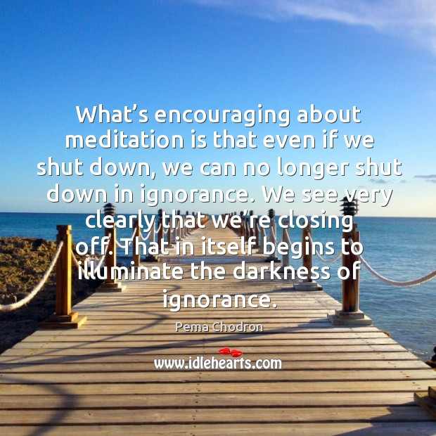Image, What's encouraging about meditation is that even if we shut down, we can no longer shut down in ignorance.