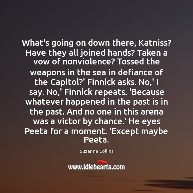 What's going on down there, Katniss? Have they all joined hands? Taken Chance Quotes Image