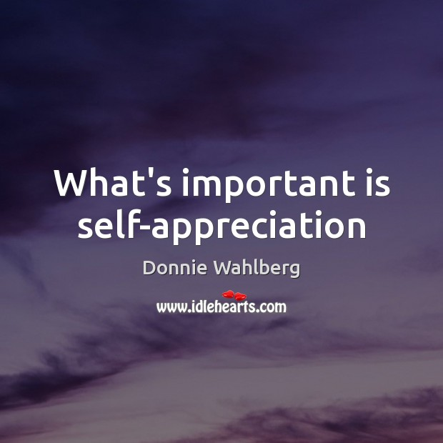 What's important is self-appreciation Donnie Wahlberg Picture Quote