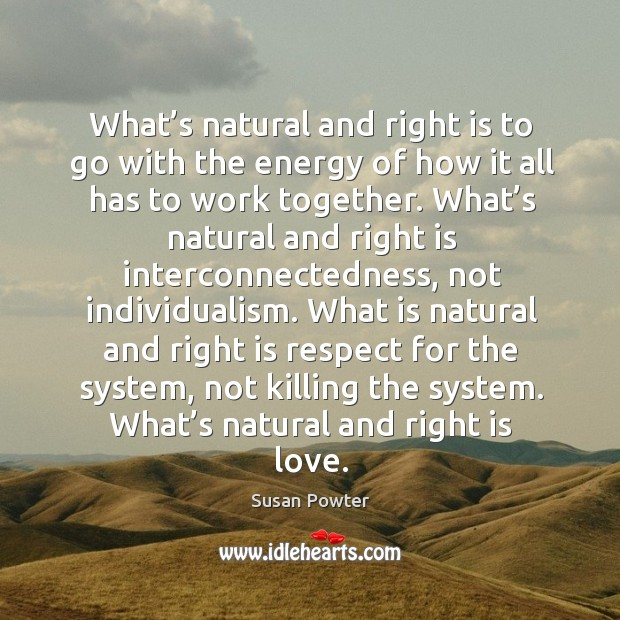 What's natural and right is to go with the energy of how it all has to work together. Susan Powter Picture Quote
