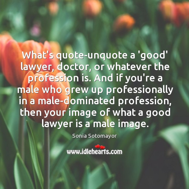 What's quote-unquote a 'good' lawyer, doctor, or whatever the profession is. And Image